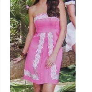 Lilly Pulitzer Lace Trim Strapless Dress Sz 4 EUC